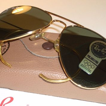 58MM VINTAGE B&L RAY BAN W1622 WRAP-AROUNDS GP POLARIZED AVIATOR SUNGLASSES NEW