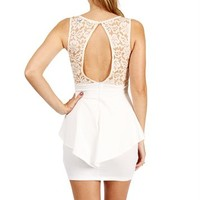 Ivory Lace Peplum Dress