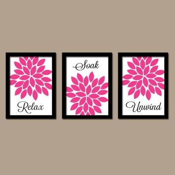 Hot Pink Black BATHROOM Wall Art, CANVAS or Prints, Flower Bathroom Pictures, Relax Soak Unwind, Bathroom Quotes, Set of 3 Bathroom Artwork