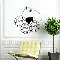 Poker Chips Wall Decal Casino Cards Wall Decals Vinyl Sticker Interior Home Decor Vinyl Art Wall Decor Bedroom Mural Art SV5843