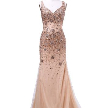 Long Evening Dresses New Arrival Formal Dresses Upscale Sexy With V-Neck Sleevess Unique Back Beading Prom Dresses
