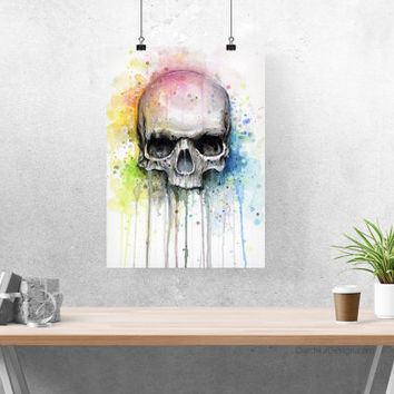 Skull Watercolor Painting, Skull Print, Watercolor Skull, Art Print, Skull Art, Watercolor Skull, Skull Painting, Giclee Colorful Skull
