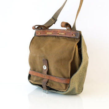 VINTAGE SWISS ARMY Bread Bag 1966, Crossover Messenger Bag, Haversack, Pannier, Military Salt and Pepper Canvas, Fishing, Made Switzerland