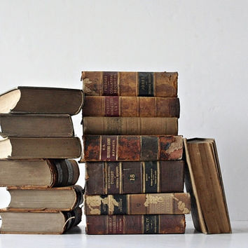 Antique 1800's Leather Bound Law Books - Shabby Chic Library Collection - Rust, Brown. Beige Home Decor, Autumn Winter Home for Book Lovers