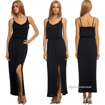 Stylish Ladies Women V Neck Sleeveless Strap Backless Split Solid Long Maxi Party Sexy Dress = 1838491972