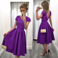 Purple Modest Satin Short Cocktail Party Dresses Cap Sleeves Party Dresses Juniors Knee Length Low Back Cocktail Dress Gowns