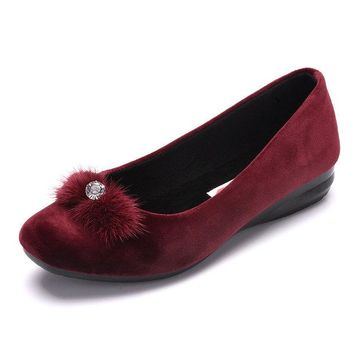 Beaded Furry Tassel Flat Slip On Loafers For Women