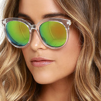 Road Home Clear and Green Mirrored Sunglasses