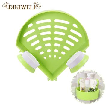 DINIWELL Triangle Shaped Plastic Suction Hollow Wall Hanging Corner Bathroom Storage Organizer Shelves Toothbrush And Cup Holder