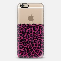 Pink Faux Denim Leopard Transparent iPhone 6 case by Organic Saturation | Casetify