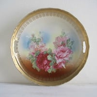 Vintage Floral China Cake Plate - Roses & Gold - Shabby Cottage Chic