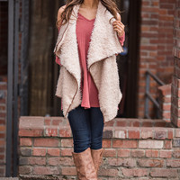 Furly In Love Leather Trimmed Drape Front Vest (Taupe)