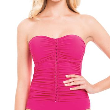 Profile by Gottex Rose Waterfall Bandeau Swimsuit  E768-2013-614
