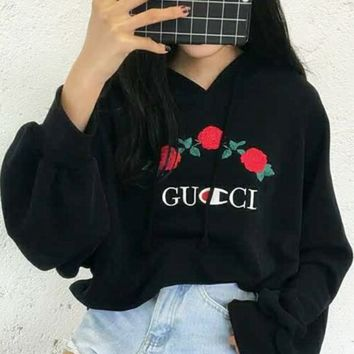 GUCCI Hot Sale Embroidery Rose Flower Blouse loose type Hoodie Sweatershirt Black
