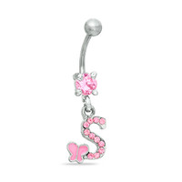 """014 Gauge """"S"""" and Butterfly Belly Button Ring with Pink Crystals in Stainless Steel - - View All - PAGODA.COM"""