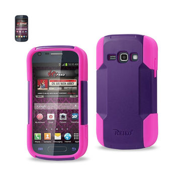 Reiko REIKO SAMSUNG GALAXY RING HYBRID HEAVY DUTY CASE IN HOT PINK PURPLE