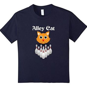 Funny Alley Cat   Graphic Bowling   Ladies Fitted T Shirt