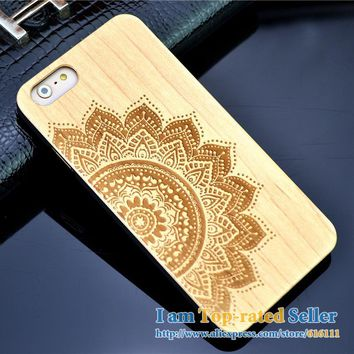 Wood Case for iPhone 5 5s Wooden New Cover Natural Real Walnut Bamboo Carving Patterns Wood Slice + Plastic Edges Back Cover