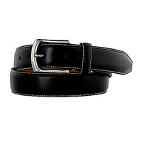 Johnston & Murphy Topstitched Belt - Black