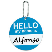 Alfonso Hello My Name Is Round ID Card Luggage Tag