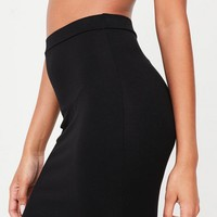 Missguided - Black Jersey Longline Midi Skirt