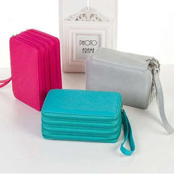 Colored 72 Holders 4 Layers Color Case Large Capacity  PU Leather School Pencil Case for School  Pencil Bag