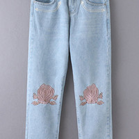 Light Blue Pockets Embroidery Jeans
