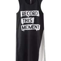 Record This Moment Graphic Print Sleeveless Dress in Black and white