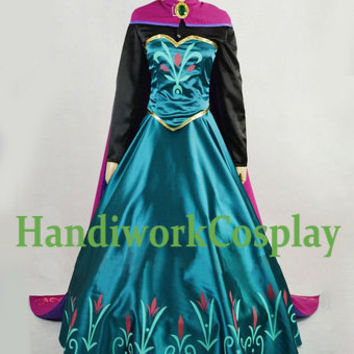 Disney Frozen Elsa Costume Elsa Coronation Cosplay Outfit,elsa coronation dress Custom Any Size For adult,Kids And Plus Size
