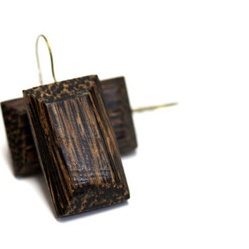 "Wooden Jewelry, Earring Rectangle Wood Dangles, Reclaimed Vintage Button Drops, Brown Earthy Rustic Woodland Eco Earrings - ""Forest Dweller"""