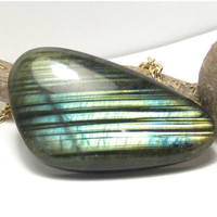 Labradorite Gemstone Pendant Necklace Bohemian Jewelry