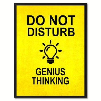 Do Not Disturb Genius Thinking Funny Sign Yellow Print on Canvas Picture Frames Home Decor Wall Art Gifts 91770