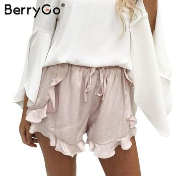 PEAPGC3 BerryGo High waist ruffles shorts women Sexy drawstring beach summer shorts Loose elastic waist streetwear shorts