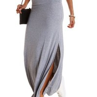 Heather Gray Double Slit Maxi Skirt by Charlotte Russe