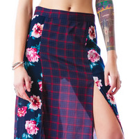 Nameless Peony Plaid Maxi Skirt Navy