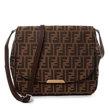 Fendi Zucca FF Monogram Canvas Leather Shoulder Bag 8BT215