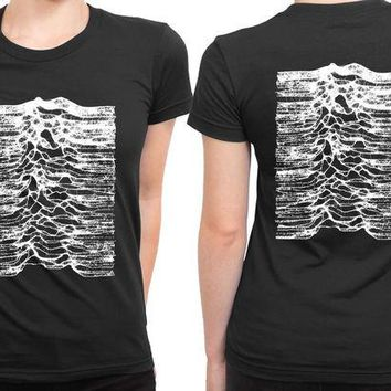 DCCKG72 Joy Division Unknown Pleasure Remember Earthquake 2 Sided Womens T Shirt