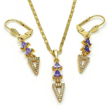 Gold Layered Necklace and Earring, with Cubic Zirconia and Micro Pave, Golden Tone