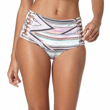 Op Juniors Inca Road High Waist Retro Bottom With Side Cutout Straps - Walmart.com