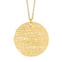 14k Yellow Gold Birds Nest Weave Inspired Round Pendant Necklace, 18""