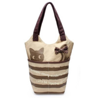 Women's Canvas Tote Casual Bucket Bags Cat Design Shoulder Bags