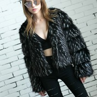 Black Open Front Fluffy Faux Fur Coat
