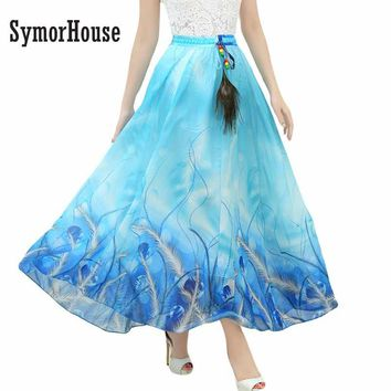 SymorHouse New Fashion Summer Women Full Skirt Real Peacock Feather Elastic Waist Expansion Bottom Printed Long Chiffon Skirt