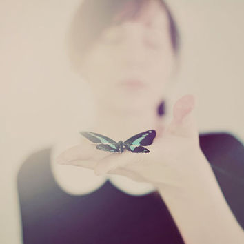 Surreal Portrait, Butterfly Photo, Dreamy Photograph, Soft, Pink, Cream, Ivory, Vintage Tones, Surreal Photography, Bedroom Art