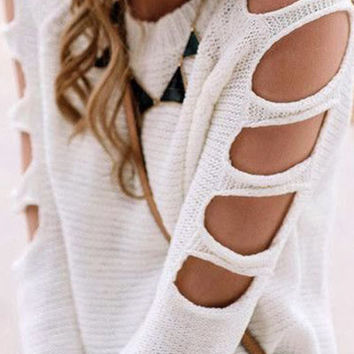 White Cut-out Shoulder Ribbed Knit Sweater