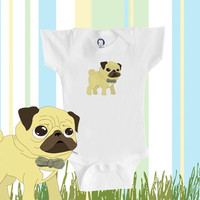Organic baby clothes pug Onesuit cute pug by BoogalooBubbywear
