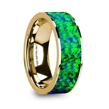 14K Yellow Gold with Sapphire Blue and Emerald Green Opal Inlay Flat Polished - 8mm