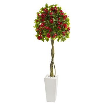 6' Bougainvillea Artificial Tree in White Tower Planter