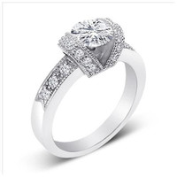 Sterling Silver 1.75 carat Round Cut CZ Channel Set Engagement Ring size 5-9