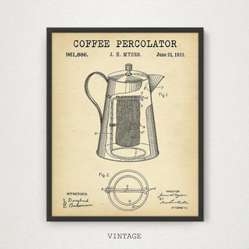 Coffee Percolator Patent, 4 COLORS Patent Printable, Coffee Wall Art, Coffee Poster, Vintage Coffee Print, Cafe Decor, Digital Download